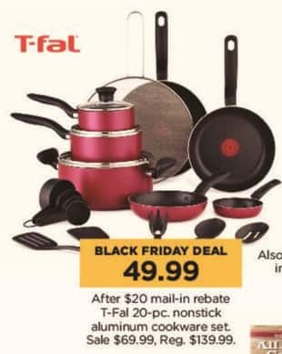 Kohl's Black Friday: T-Fal 20-pc Nonstick Aluminum Cookware Set for $49.99 after $20.00 rebate