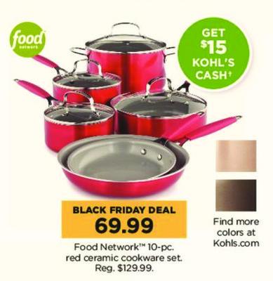 Kohl's Black Friday: Food Network 10-pc Red Ceramic Cookware Set + $15 Kohl's Cash for $69.99