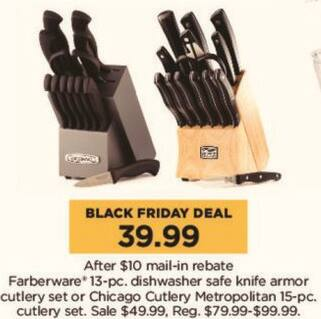 Kohl's Black Friday: Farberware 13-pc Dishwasher Safe Knife Armor Cutlery Set for $39.99 after $10.00 rebate