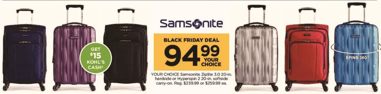 Kohl's Black Friday: Samsonite Ziplite 3.0 20-in Hardside Carry-on + $15 Kohl's Cash for $94.99