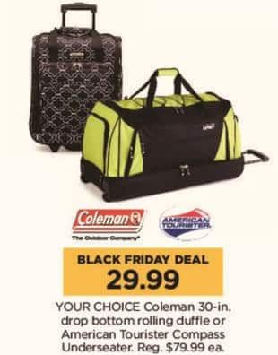 Kohl's Black Friday: Coleman 30-in Drop Bottom Rolling Duffle for $29.99