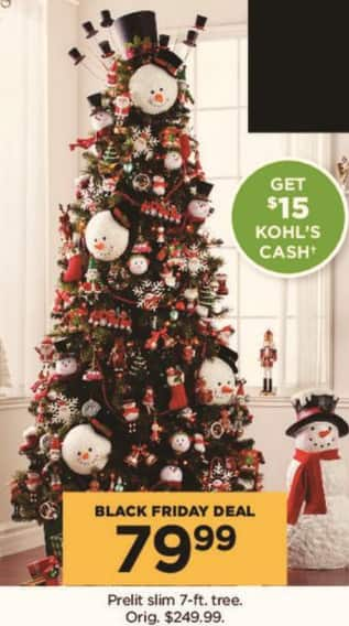 Kohl's Black Friday: Prelit Slim 7-ft Tree + $15 Kohl's Cash for $79.99