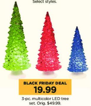 Kohl's Black Friday: 3-pc Multicolor LED Tree Set for $19.99