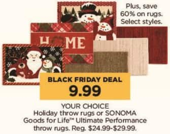 Kohl's Black Friday: Holiday or SONOMA Good for Life Ultimate Performance Throw Rugs - Your Choice for $9.99