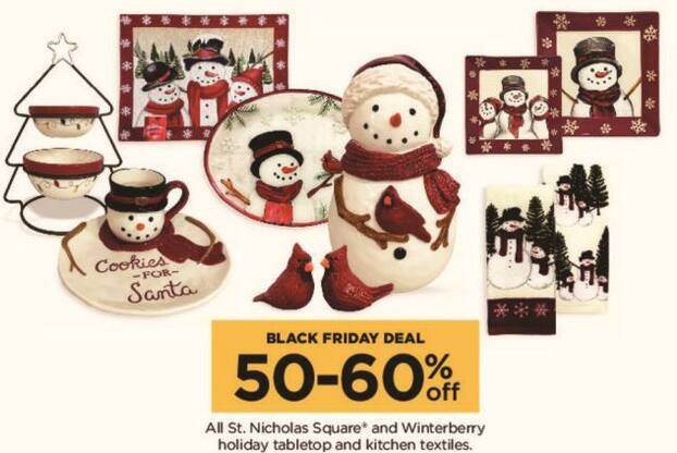 Kohl's Black Friday: Entire Stock St. Nicholas Square and Winterberry Holiday Tabletop and Kitchen Textiles - 50-60% Off