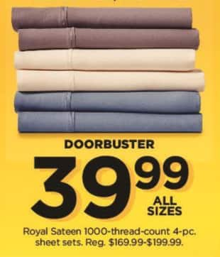 Kohl's Black Friday: Royal Sateen 1000 Thread Count 4-pc Sheet Sets (Any Size) for $39.99