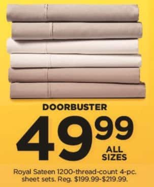 Kohl's Black Friday: Royal Sateen 1200 Thread Count 4-pc Sheet Sets (Any Size) for $49.99
