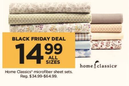 Kohl's Black Friday: Home Classics Microfiber Sheets Sets (Any Size) for $14.99