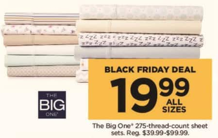 Kohl's Black Friday: The Big One 275 Thread Count Sheets Sets (Any Size) for $19.99