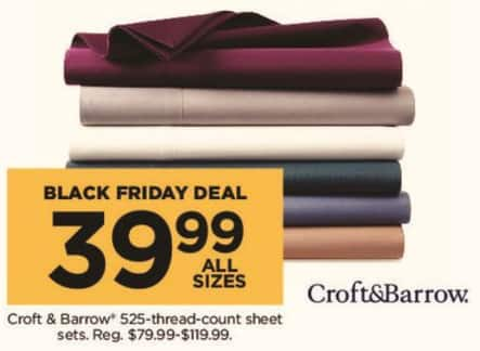 Kohl's Black Friday: Croft & Barrow 525 Thread Count Sheets Sets (Any Size) for $39.99
