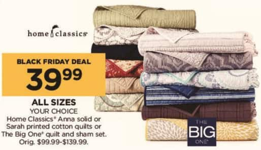Kohl's Black Friday: Home Classics Anna Solid or Sarah Printed Cotton Quilt (Any Size) for $39.99