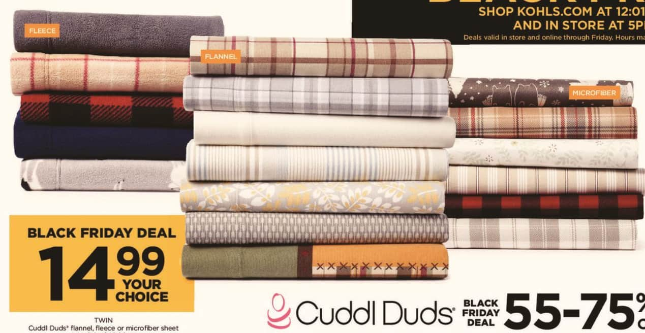 Kohl's Black Friday: Cuddl Duds Twin Flannel, Fleece or Microfiber Sheet Set - Your Choice for $14.99