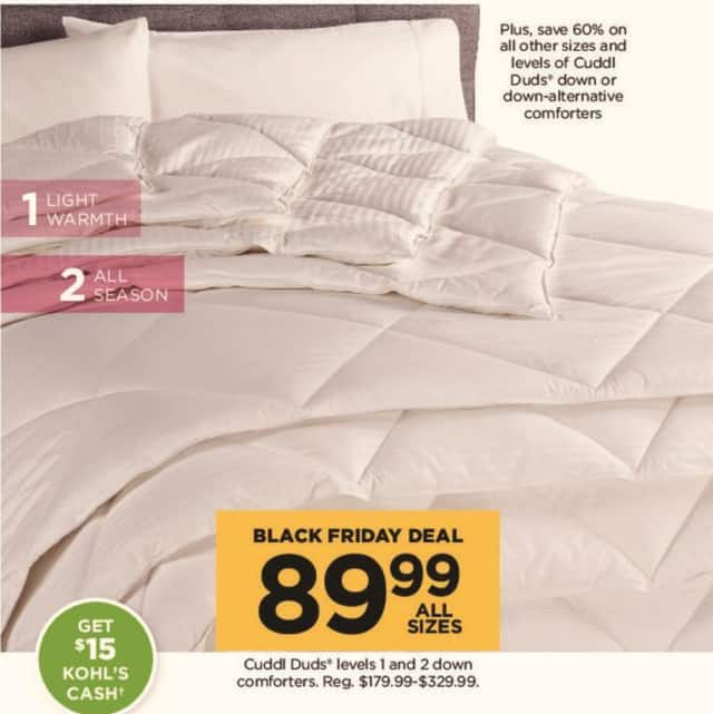 Kohl's Black Friday: Cuddl Duds Level 1 and 2 Down Comforters (Any Size) + $15 Kohl's Cash for $89.99