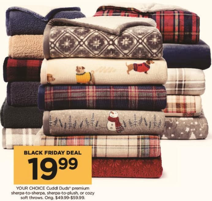 Kohl's Black Friday: Cuddl Duds Premium Sherpa-to-Sherpa, Sherpa-to-Plush or Cozy Soft Throws - Your Choice for $19.99