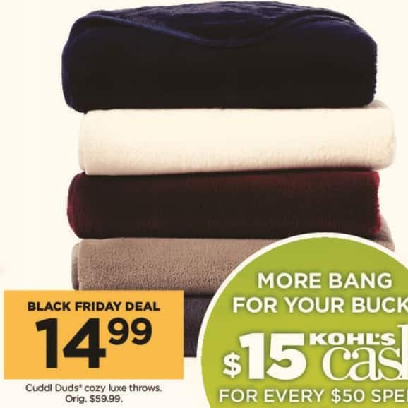Kohl's Black Friday: Cuddl Duds Cozy Luxe Throws for $14.99