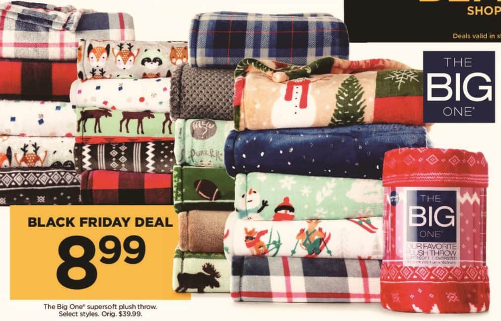Kohl's Black Friday: Select The Big One Supersoft Plush Throws for $8.99