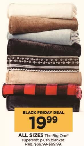 Kohl's Black Friday: The Big One Supersoft Plush Blanket (Any Size) for $19.99