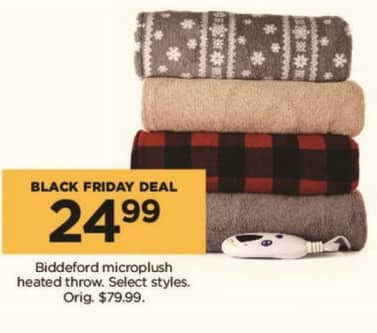 Kohl's Black Friday: Select Biddeford Microplush Heated Throws for $24.99