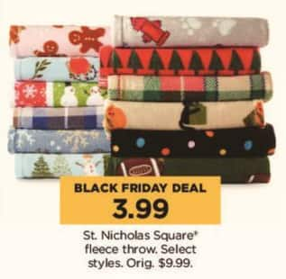 Kohl's Black Friday: Select St. Nicholas Square Fleece Throws for $3.99
