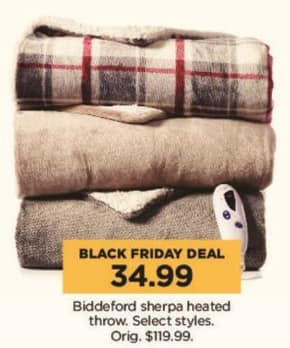 Kohl's Black Friday: Select Biddeford Sherpa Heated Throws for $34.99