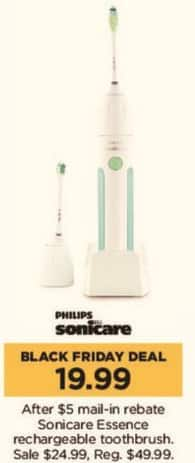 Kohl's Black Friday: Sonicare Essence Rechargeable Toothbrush for $19.99 after $5.00 rebate