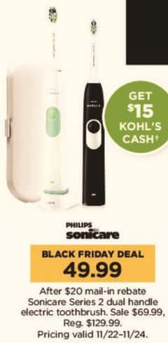 Kohl's Black Friday: Sonicare Series 2 Dual Handle Electric Toothbrush + $15 Kohl's Cash for $49.99 after $20.00 rebate