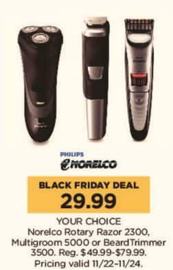 Kohl's Black Friday: Norelco Rotary Razor 2300, Multigroom 5000, or BeardTrimmer 3500 - Your Choice for $29.99