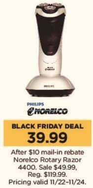 Kohl's Black Friday: Norelco Rotary Razor 4400 for $39.99 after $10.00 rebate