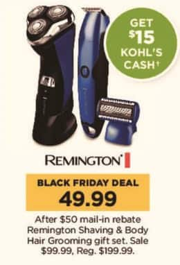 Kohl's Black Friday: Remington Shaving and Body Hair Grooming Gift Set + $15 Kohl's Cash for $49.99 after $50.00 rebate