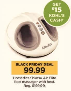 Kohl's Black Friday: HoMedics Shiatsu Air Elite Foot Massager w/ Heat + $15 Kohl's Cash for $99.99
