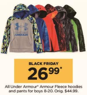 Kohl's Black Friday: All Under Armour Boys Fleece Hoodies and Pants for $26.99