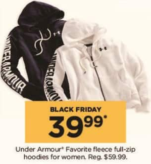Kohl's Black Friday: Under Armour Women's Favorite Fleece Full-Zip Hoodies for $39.99