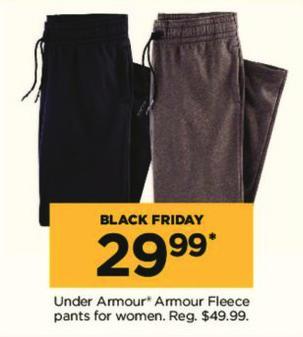 Kohl's Black Friday: Under Armour Women's Fleece Pants for $29.99