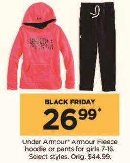 Kohl's Black Friday: Select Under Armour Girls Fleece Hoodie or Pants - Your Choice for $26.99
