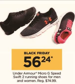 Kohl's Black Friday: Under Armour Men's or Women's Micro G Speed Swift 2 Running Shoes for $56.24