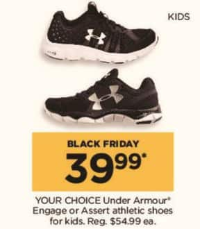 Kohl's Black Friday: Under Armour Kids Engage or Assert Athletic Shoes - Your Choice for $39.99
