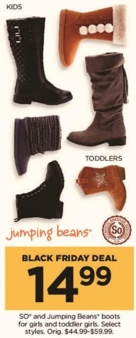 Kohl's Black Friday: Select SO and Jumping Beans Girls and Toddler Girls Boots for $14.99
