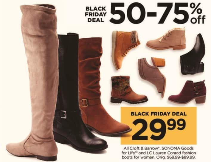 Kohl's Black Friday: All Croft & Barrow, Sonoma Goods for Life, and LC Lauren Conrad Women's Fashion Boots for $29.99