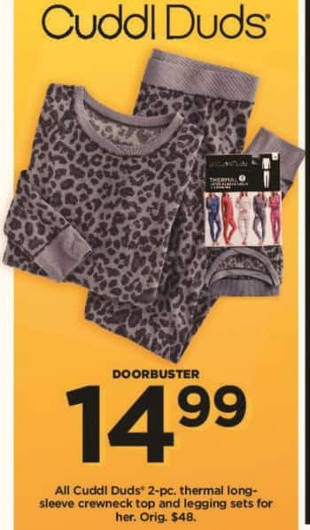 Kohl's Black Friday: All Cuddl Duds Women's 2-pc Thermal Long-Sleeve Crewneck Top and Legging Sets for $14.99