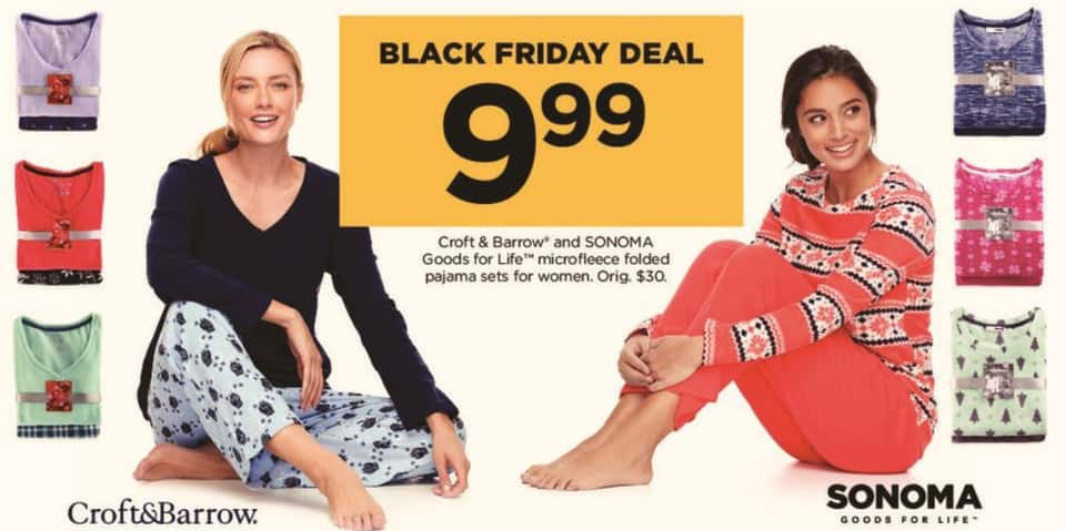Kohl's Black Friday: Croft & Barrow and Sonoma Goods for Life Women's Microfleece Folded Pajama Sets - Your Choice for $9.99