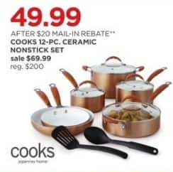 JCPenney Black Friday: Cooks 12-pc Ceramic Nonstick Cookware Set for $49.99 after $20.00 rebate