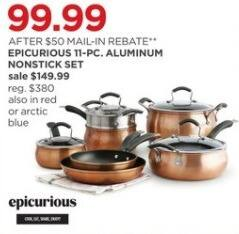JCPenney Black Friday: Epicurious 11-pc Aluminum Nonstick Cookware Set for $99.99 after $50.00 rebate