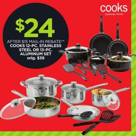 JCPenney Black Friday: Cooks 12-pc Stainless Steel or 13-pc Aluminum Cookware Set for $24.00 after $15.00 rebate