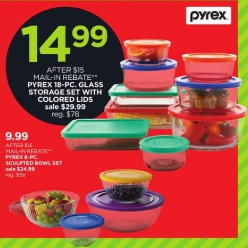 Exceptional JCPenney Black Friday: Pyrex 18 Pc Glass Storage Set W/ Colored Lids For