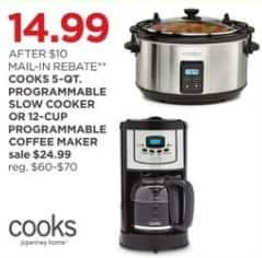 JCPenney Black Friday: Cooks 5-qt Programmable Slow Cooker or 12-cup Programmable Coffee Maker for $14.99 after $10.00 rebate