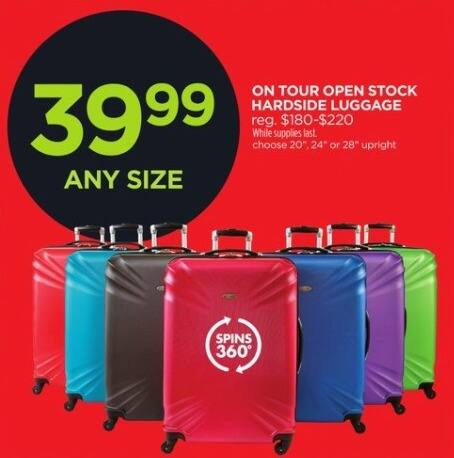 JCPenney Black Friday: On Tour Open Stock Hardside Luggage for $39.99