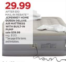 JCPenney Black Friday: JCPenney Home Queen Deluxe Air Mattress w/ Built-in Pump for $29.99 after $10.00 rebate