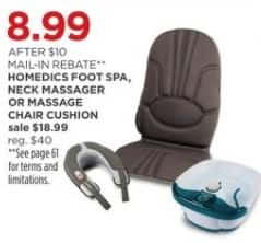 JCPenney Black Friday: Homedics Foot Spa, Neck Massager, or Massage Chair Cushion for $8.99 after $10.00 rebate