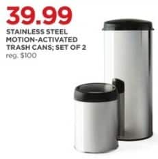 JCPenney Black Friday: Stainless Steel Motion-Activated Trash Cans, Set of 2 for $39.99