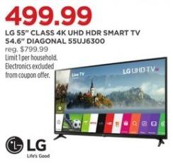 """JCPenney Black Friday: 55"""" LG 55UJ6300 4K UHD HDR Smart TV for $499.99"""